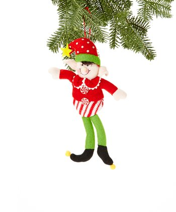 Red Polka Dot Hat Elf Ornament