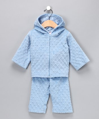Blue Minky Zip-Up Hoodie & Pants - Infant & Toddler