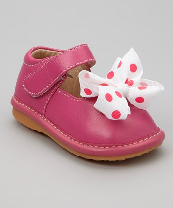 Hot Pink & White Polka Dot Bow Squeaker Mary Jane