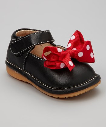 Black & Red Polka Dot Bow Squeaker Mary Jane