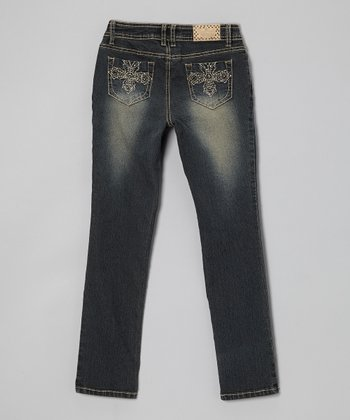 Gray Blue Wash Cross Skinny Jeans - Girls