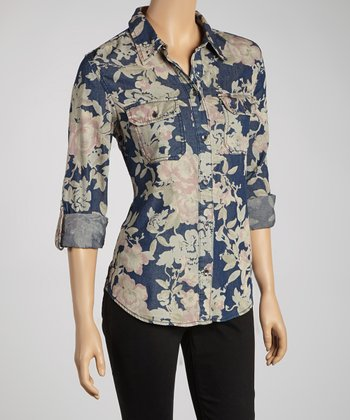 Dark Florentina Denim Button-Up