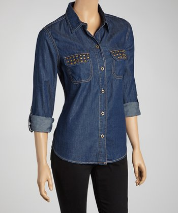 Dark Studded Denim Button-Up