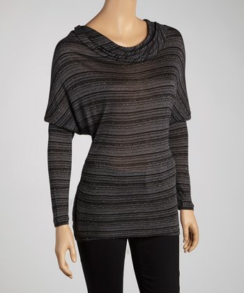 Black Metallic Stripe Cowl Neck Tunic