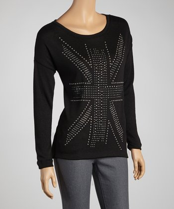 Black Union Jack Studded Long-Sleeve Sweater