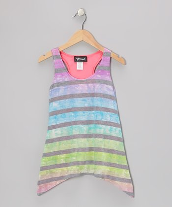 Pink Tie-Dye Sidetail Tank - Girls