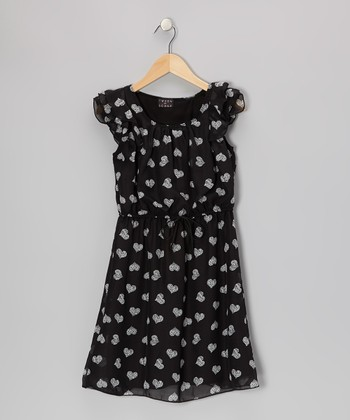 Black Heart Flutter-Sleeve Dress - Girls