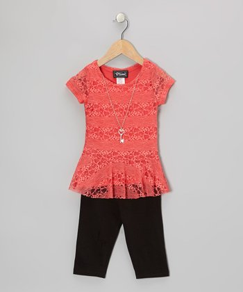 Coral Peplum Top & Black Capri Pants - Toddler & Girls