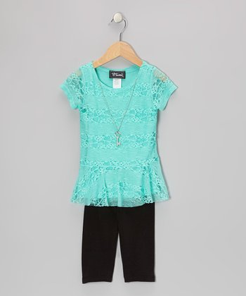 Mint Peplum Top & Black Capri Pants - Toddler & Girls
