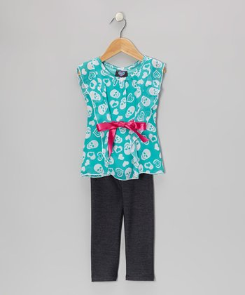 Teal Bow Flutter-Sleeve Top & Black Pants - Toddler