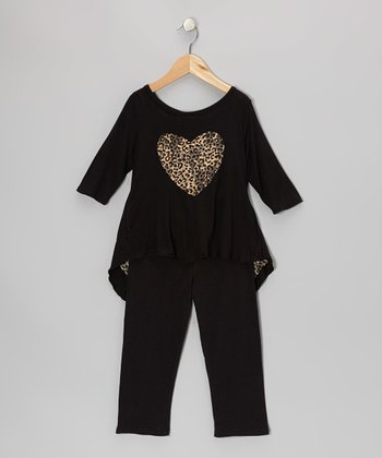 Black & Khaki Leopard Hi-Low Tunic & Leggings - Toddler & Girls