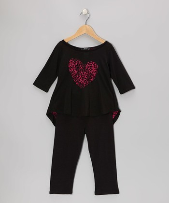 Black & Fuchsia Leopard Hi-Low Tunic & Leggings - Toddler & Girls