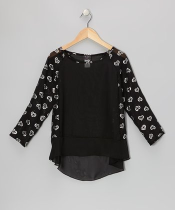 Black & Silver Sheer Long-Sleeve Top - Girls