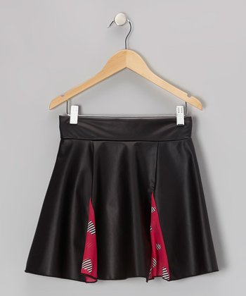 Black & Fuchsia Inset Pleather Skater Skirt - Girls