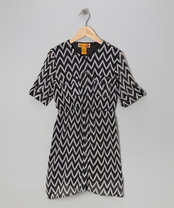 Black & White Zigzag Button-Tab Shirt Dress