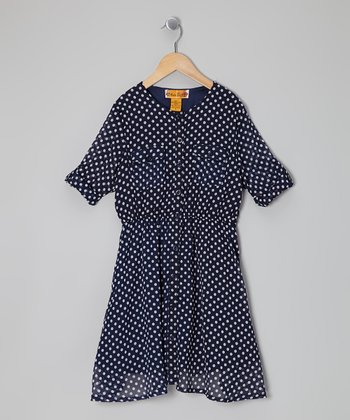 Navy & White Polka Dot Button-Tab Shirt Dress