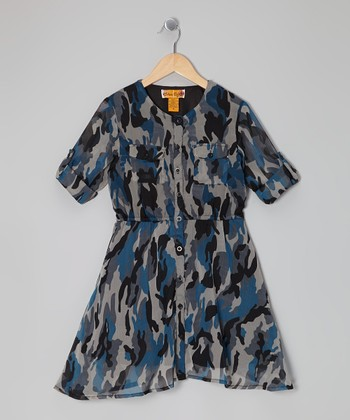 Blue Camo Button-Tab Shirt Dress - Girls