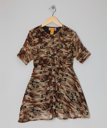 Rust Camo Button-Tab Shirt Dress