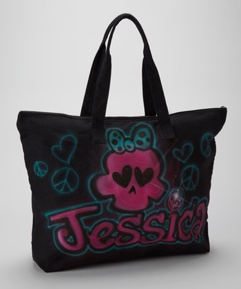 Black Skull Personalized Tote