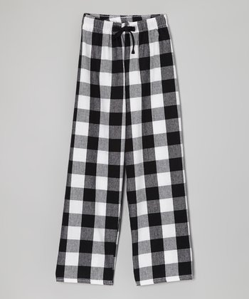White & Black Plaid Personalized Flannel Pants - Girls