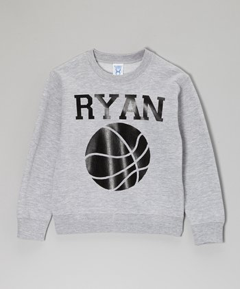 Gray Basketball Personalized Sweatshirt - Toddler, Kids & Adults