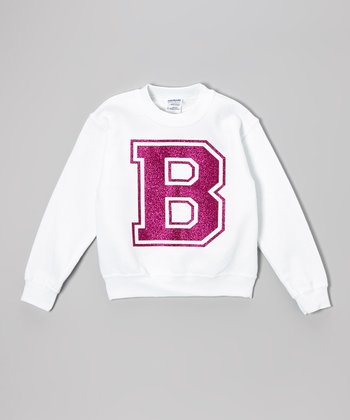 White & Pink Sparkle Initial Sweatshirt - Toddler, Kids & Adults