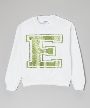 White & Green Fleece Initial Sweatshirt - Toddler, Kids & Adults