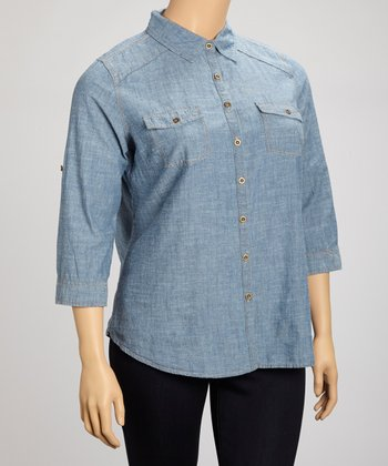 Blue Denim Button-Up - Plus