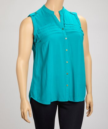 Lagoon Tiered Sleeveless Button-Up - Plus