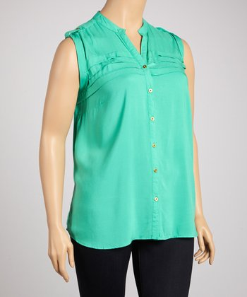 Pool Tiered Sleeveless Button-Up - Plus