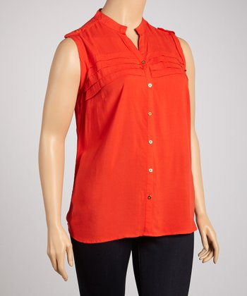 Red Tiered Sleeveless Button-Up - Plus