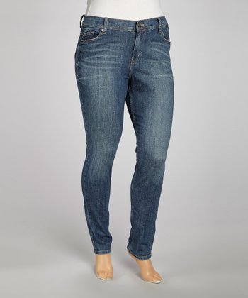 Medium Blue Straight-Leg Jeans - Plus