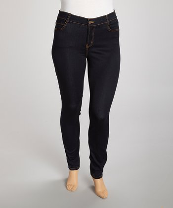 Dark Blue Straight-Leg Jeans - Plus