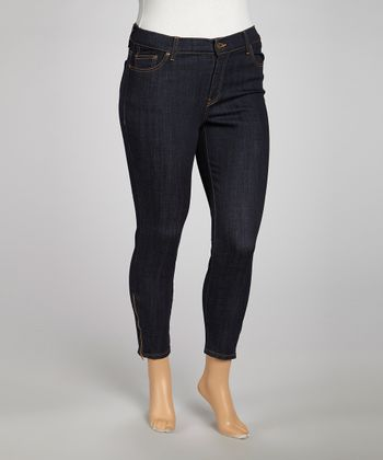 Dark Blue Zipper Detail Straight-Leg Jeans - Plus