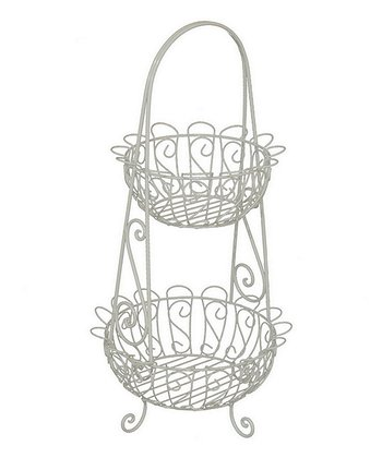 White Two-Tier Basket