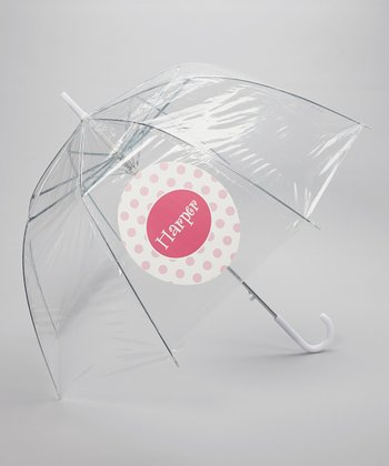 Clear Pink Dot Personalized Umbrella