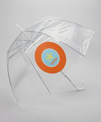 Clear Orange Star Personalized Umbrella