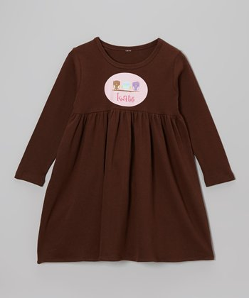 Brown Owl Personalized Long Sleeve Dress - Toddler & Girls