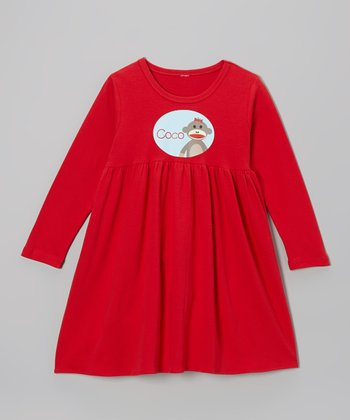 Red Sock Monkey Personalized Long Sleeve Dress - Toddler & Girls
