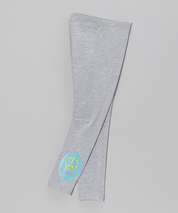Gray Peace Sign Personalized Leggings - Toddler & Girls