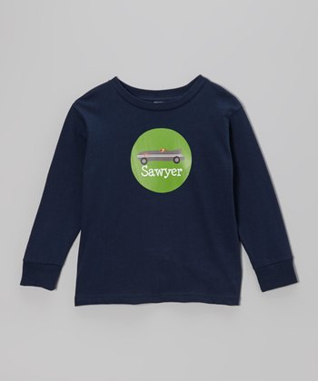 Navy Racecar Personalized Long Sleeve Tee - Toddler & Kids