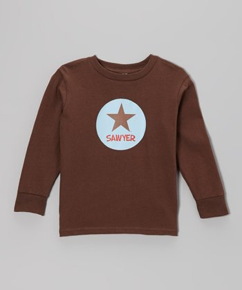 Brown Star Personalized Long Sleeve Tee - Toddler & Kids