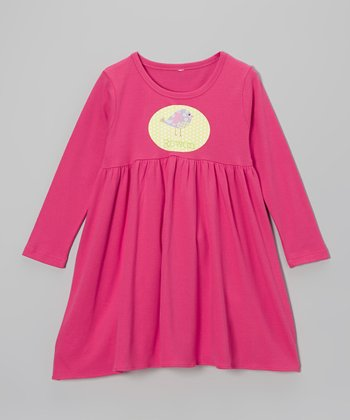 Hot Pink Bird Personalized Long Sleeve Dress - Toddler & Girls