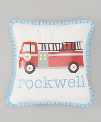 White Fire Truck Personalized Pillow Cover