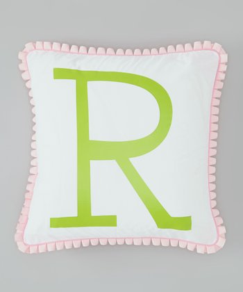 Pink & Green Initial Pillow Cover