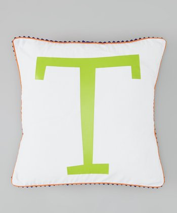 Orange & Green Initial Pillow Cover