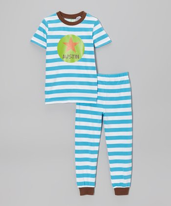 Blue Stripe Star Personalized Pajama Set - Toddler & Kids