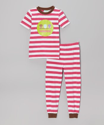 Pink & White Owl Line-Up Pajama Set - Toddler & Kids