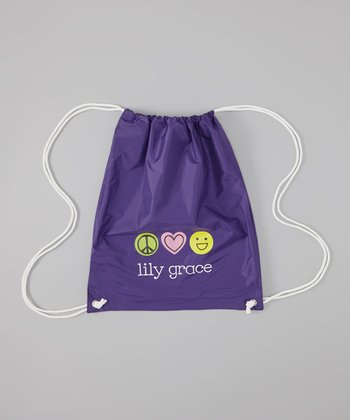 Purple Peace-Love-Happiness Personalized Drawstring Bag