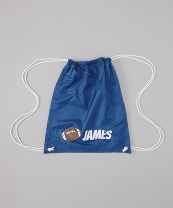 Purple Football Personalized Drawstring Bag